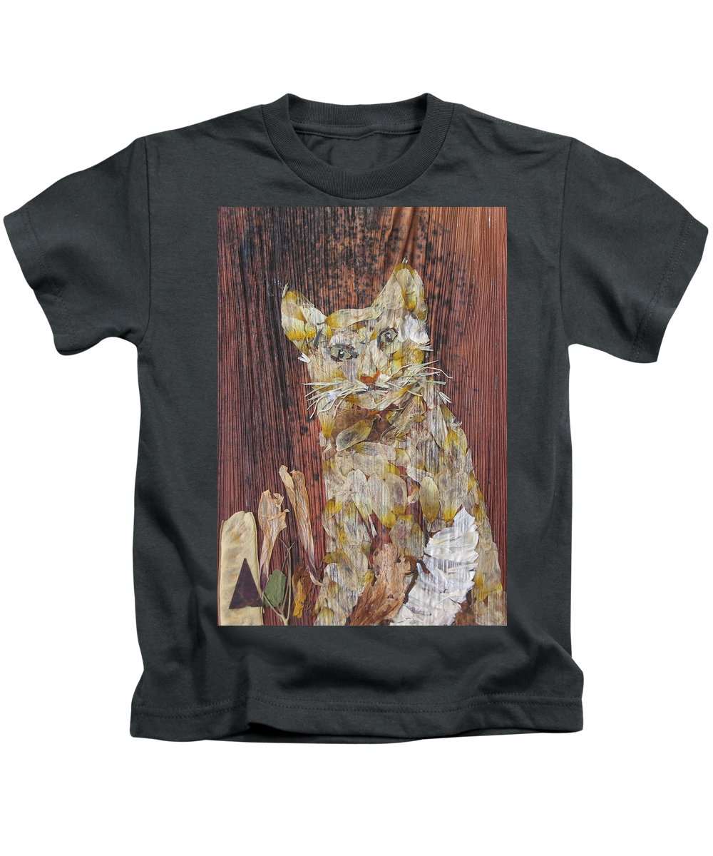 Cat.bandage On One Leg Kids T-Shirt featuring the mixed media Thanks From Eyes For Bandage On Broken Leg. by Basant Soni