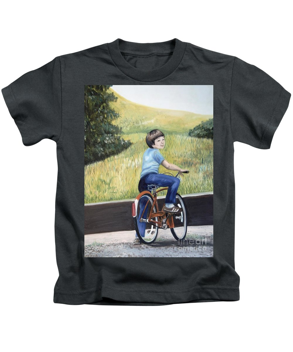 Oil Painting Kids T-Shirt featuring the painting That's My Boy by Lynda Coon