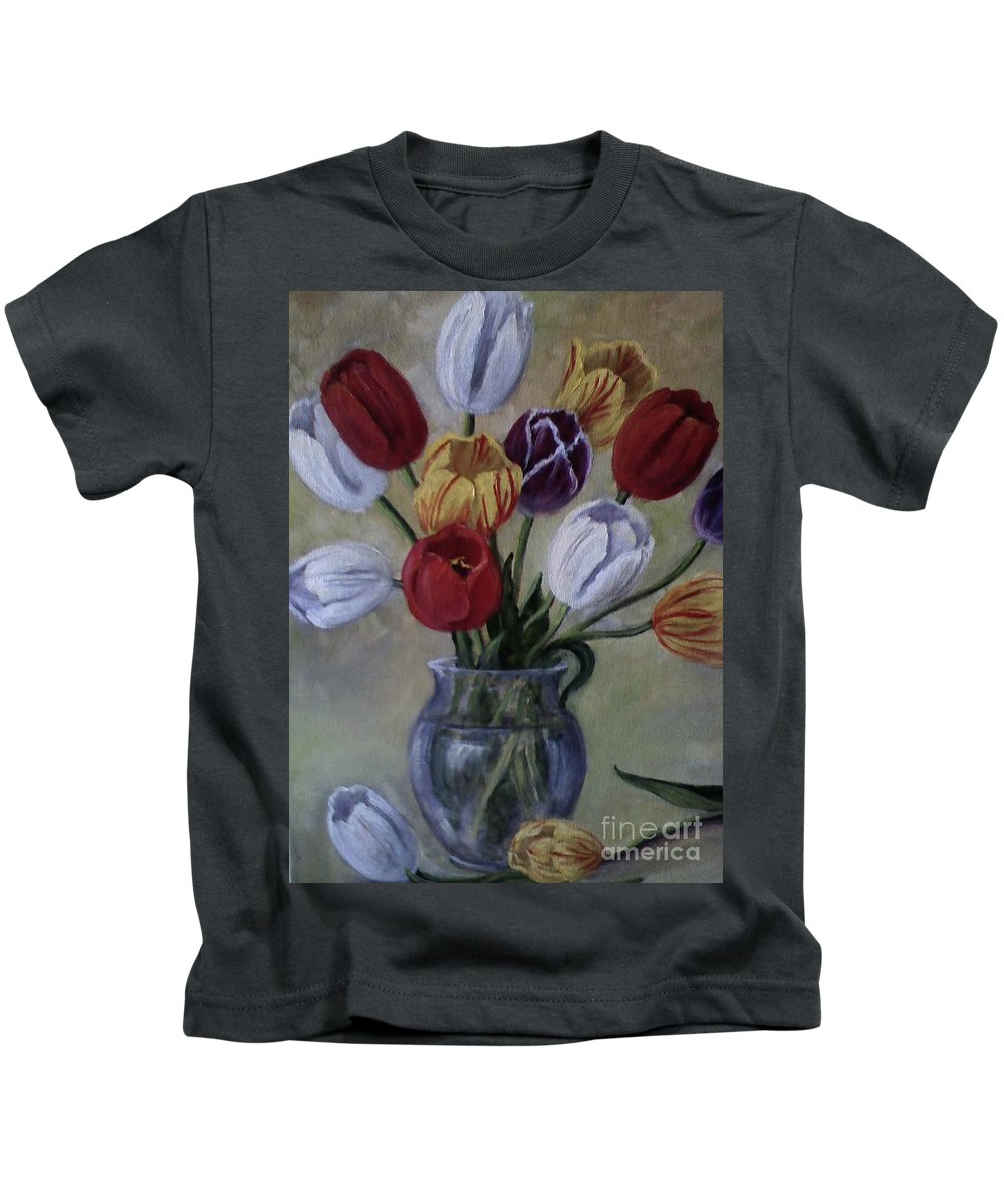Tulips Kids T-Shirt featuring the painting The Banker's Tulips by Randy Burns