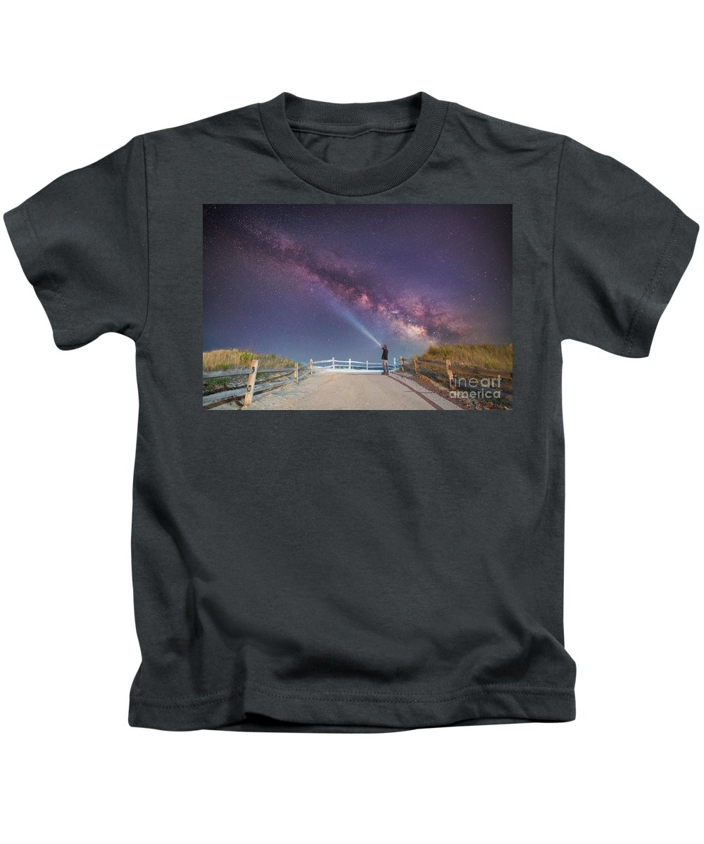 Milky Way Mike Kids T-Shirt featuring the photograph The Beach At Night by Michael Ver Sprill