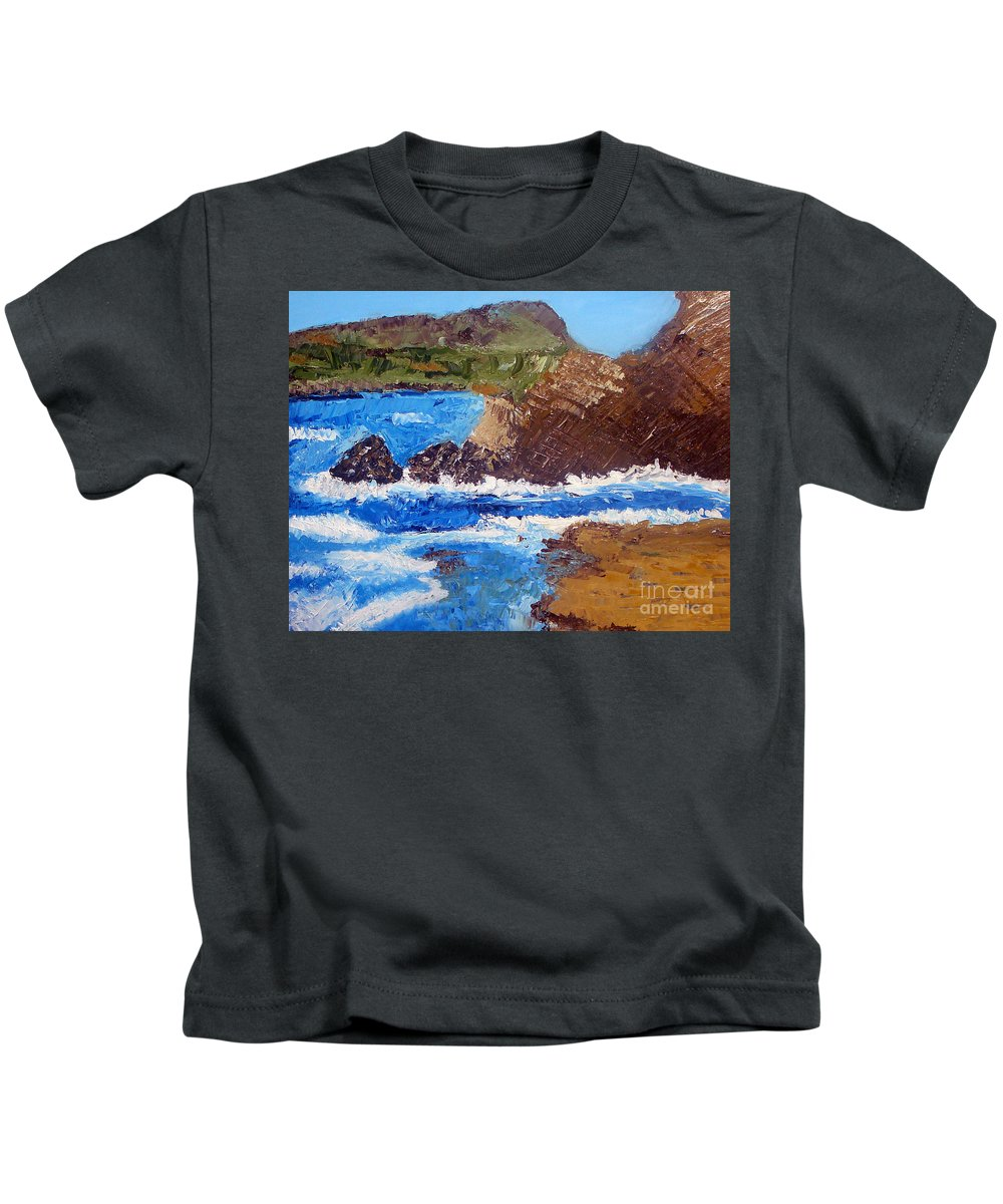 Landscape Painting Kids T-Shirt featuring the painting The Beauty Of Nature by Yael VanGruber