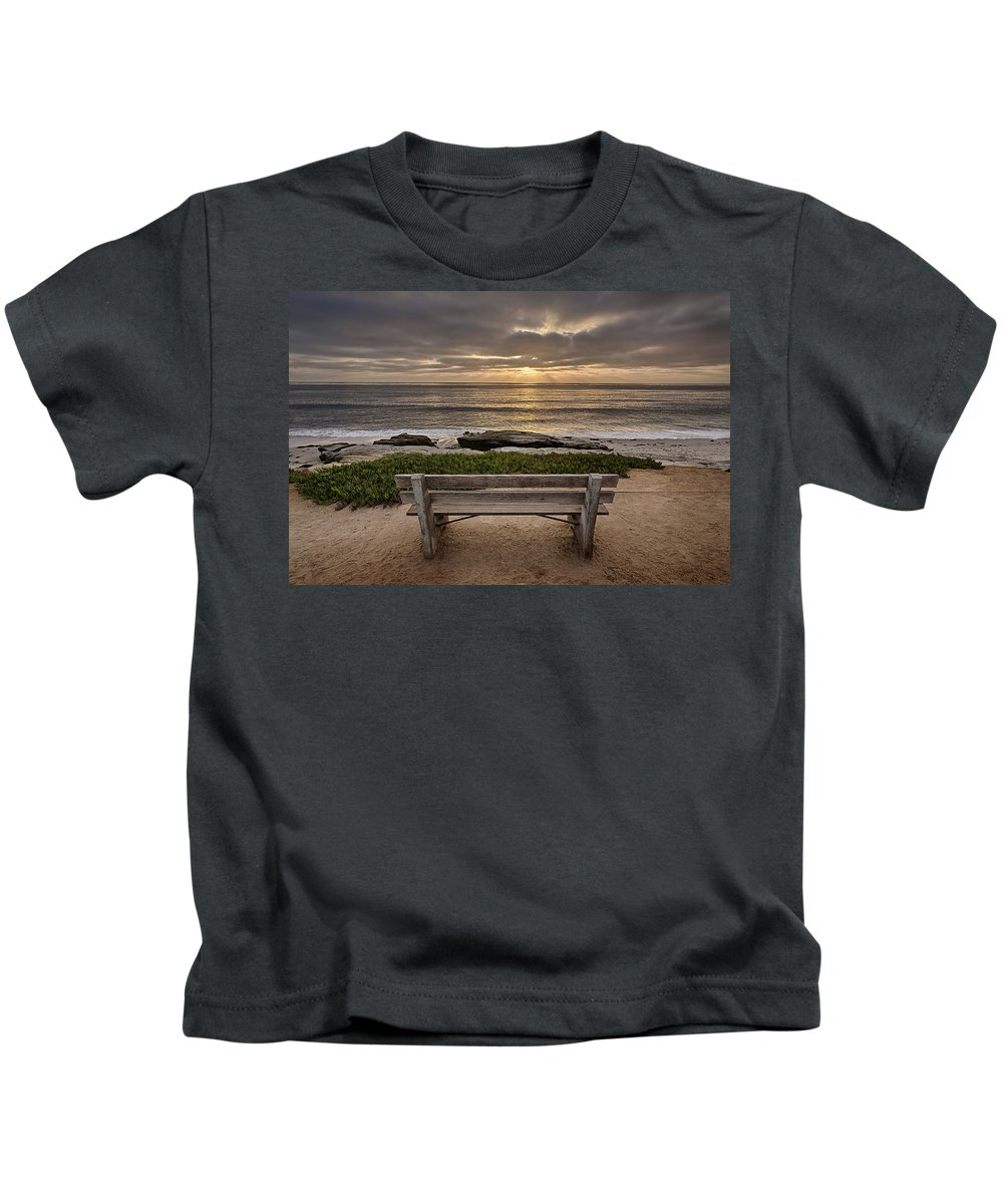 Beach Kids T-Shirt featuring the photograph The Bench IIi by Peter Tellone