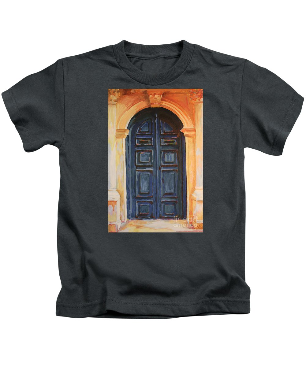 Blue Door Kids T-Shirt featuring the painting The Blue Door Venice by Christine Dekkers