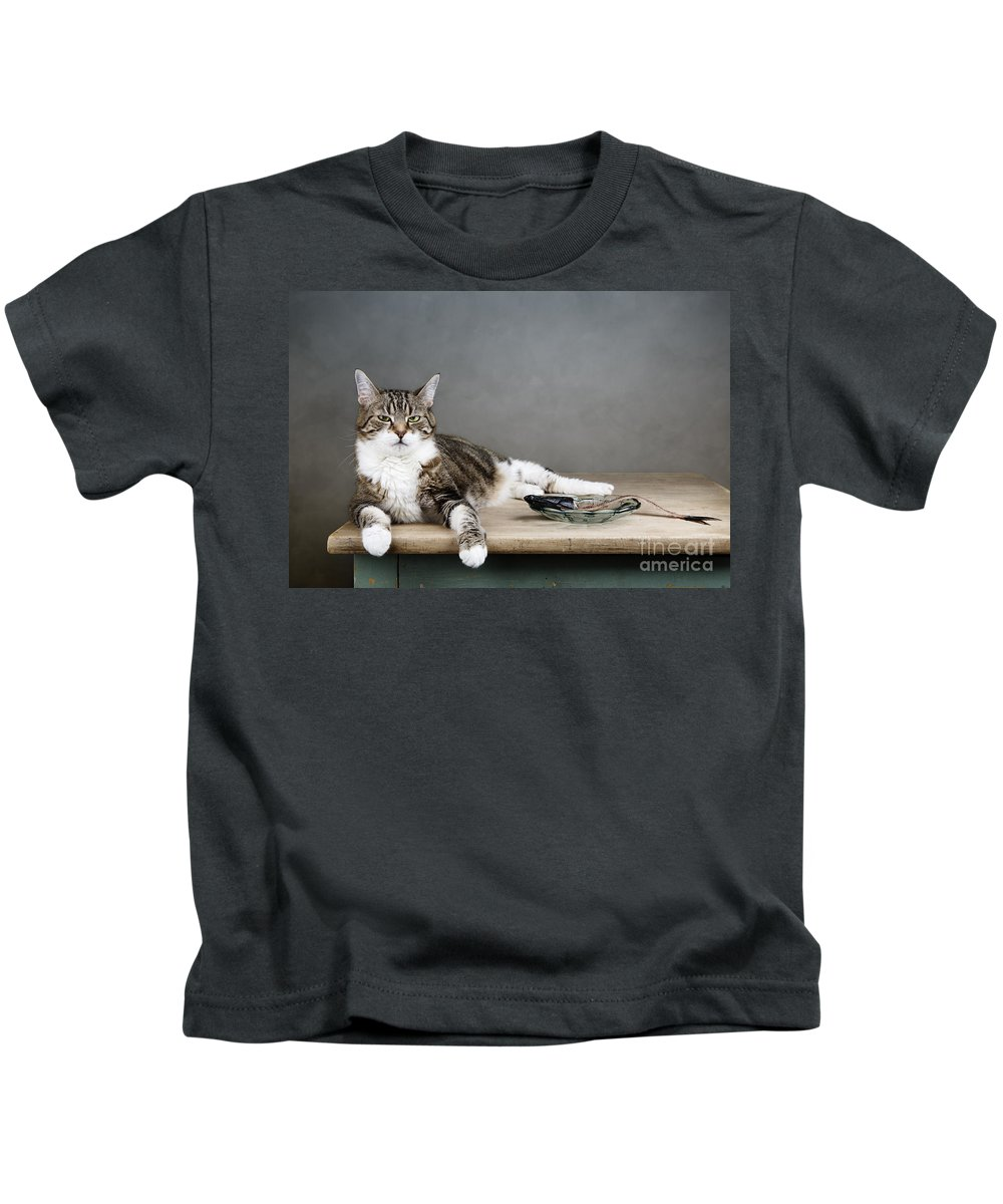 Cat Kids T-Shirt featuring the photograph The Boss by Nailia Schwarz
