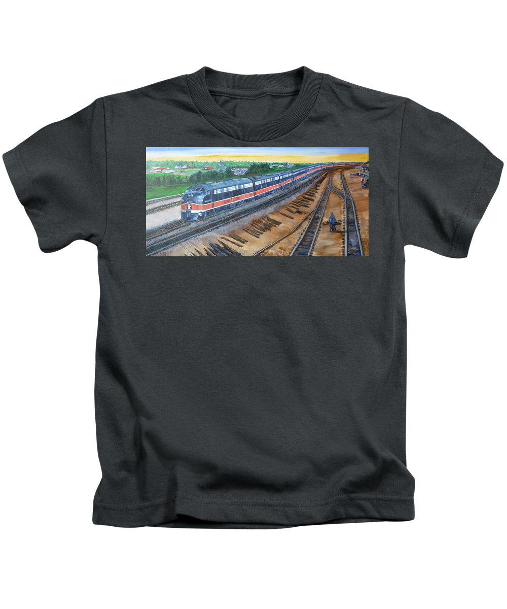 Train Kids T-Shirt featuring the painting The City Of New Orleans by Bryan Bustard