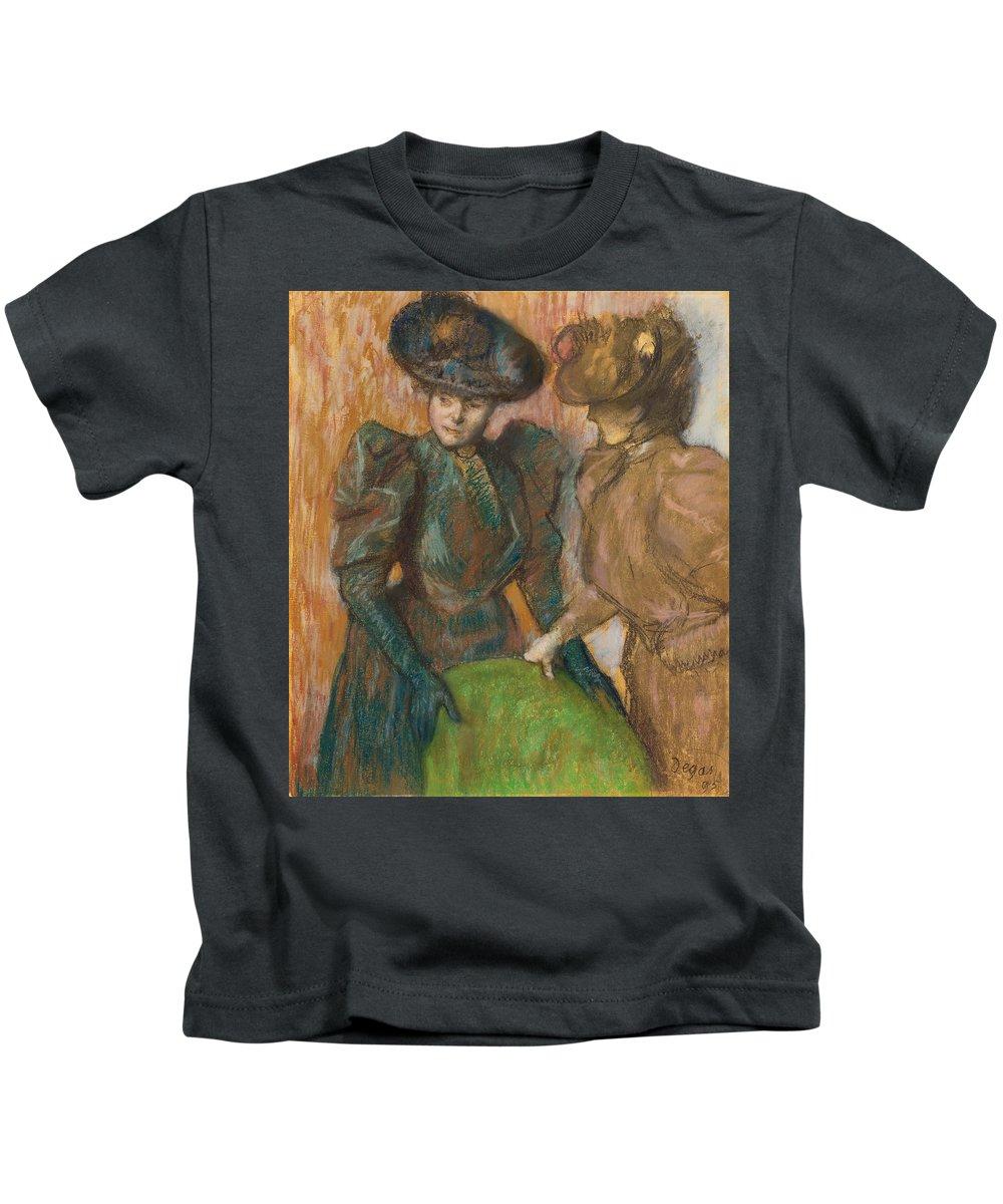 Edgar Degas Kids T-Shirt featuring the painting The Conversation by Edgar Degas