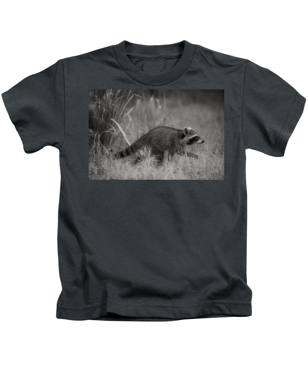 Raccoon Kids T-Shirt featuring the photograph The Coon Walk by Kim Henderson