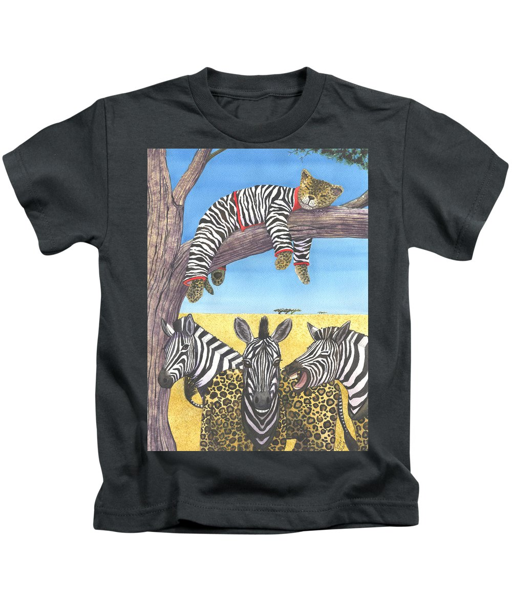 Zebra Kids T-Shirt featuring the painting The Crossdressers by Catherine G McElroy