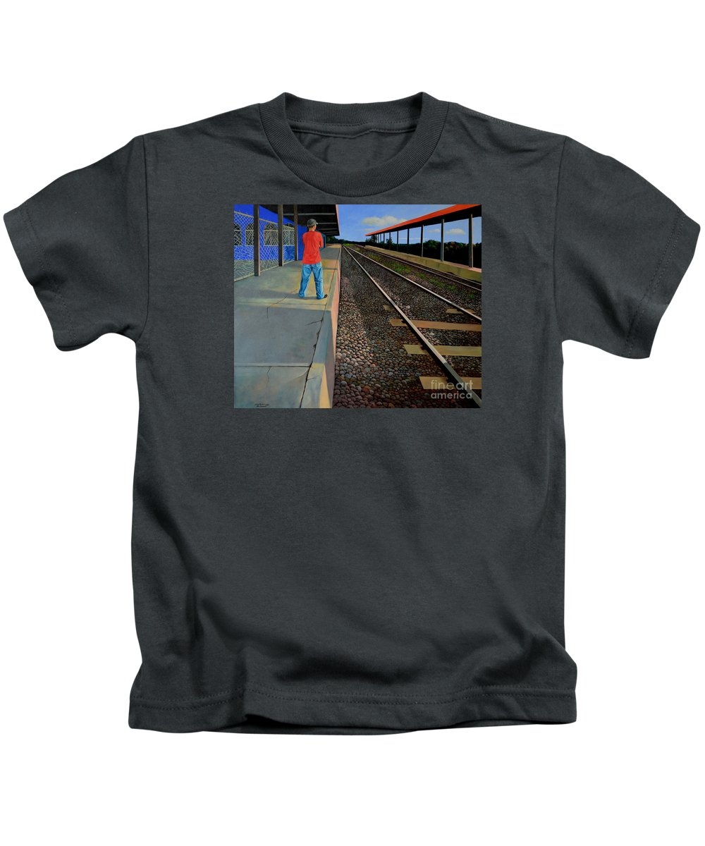 Railroad Kids T-Shirt featuring the painting The Distance Of Solitude by Christopher Shellhammer