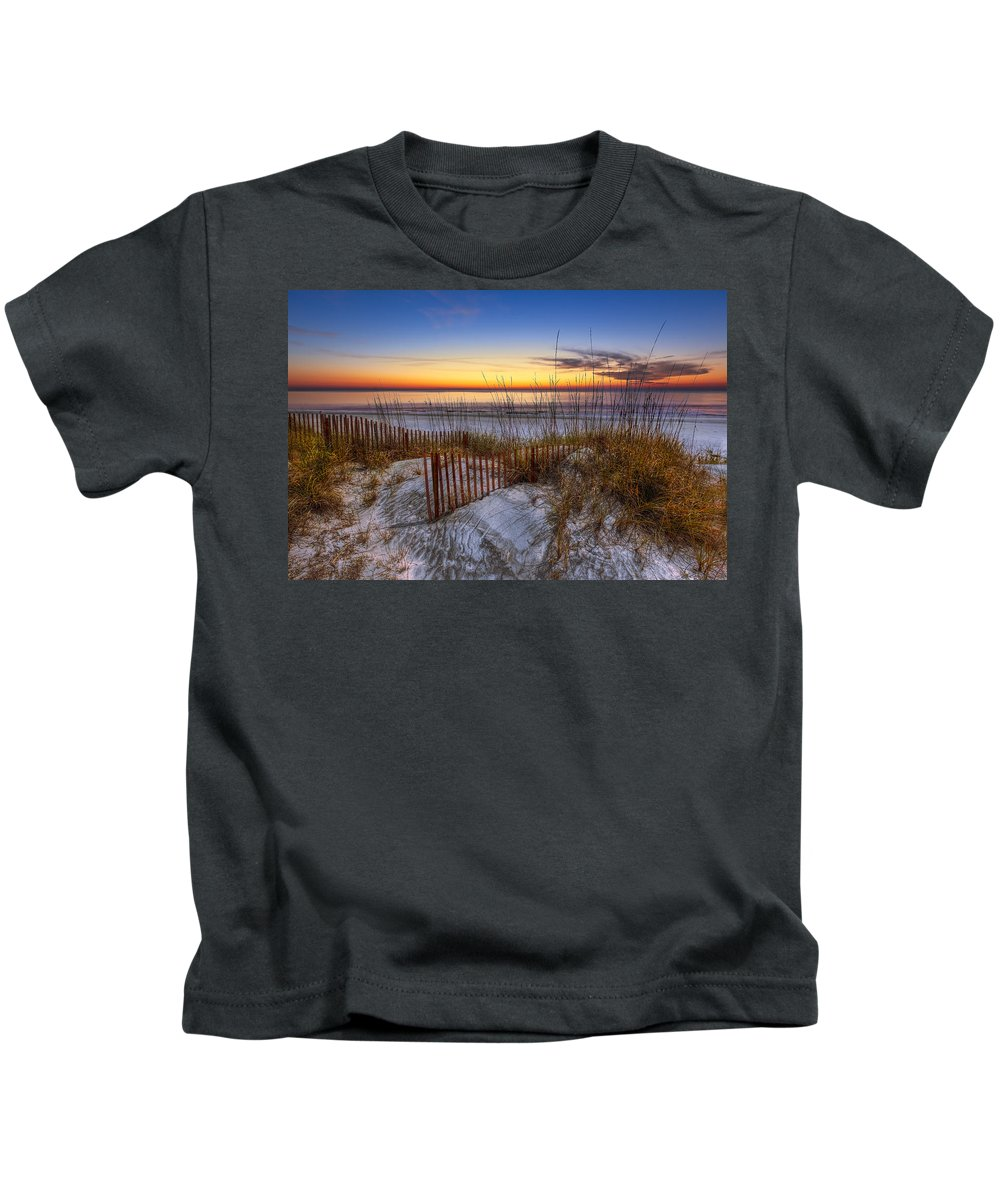 Clouds Kids T-Shirt featuring the photograph The Dunes At Sunset by Debra and Dave Vanderlaan
