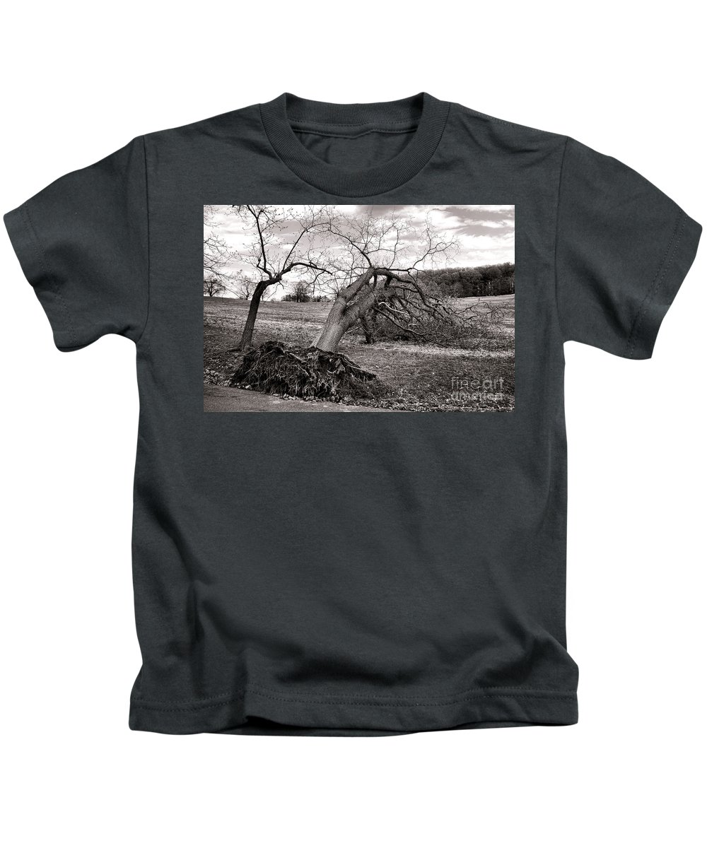 Uprooted Kids T-Shirt featuring the photograph The Fallen by Olivier Le Queinec