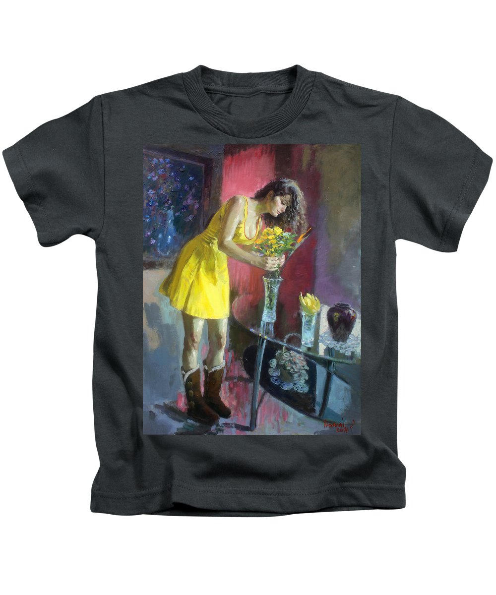 Girl Kids T-Shirt featuring the painting The Flowers by Ylli Haruni
