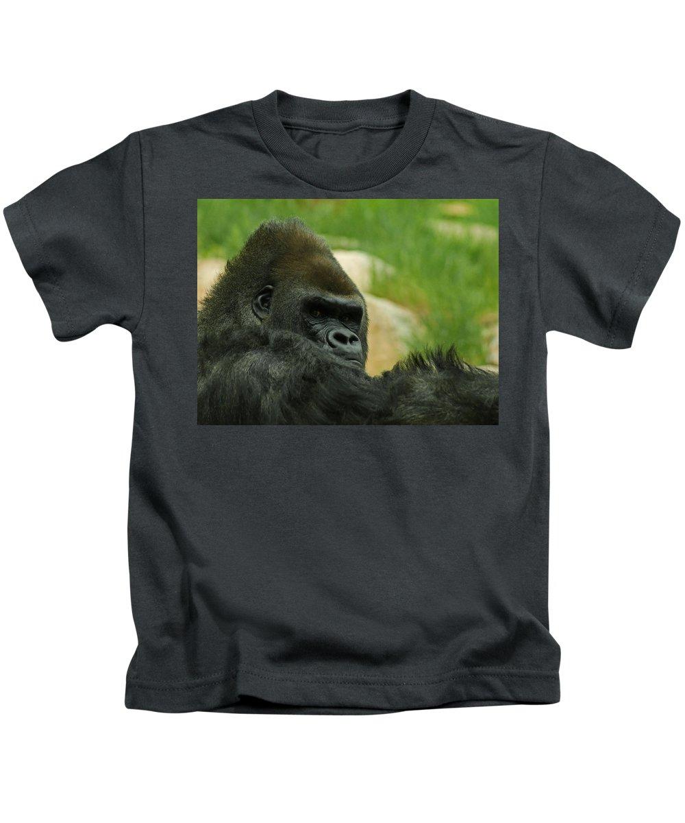 Animals Kids T-Shirt featuring the digital art The Gorilla 2 by Ernie Echols
