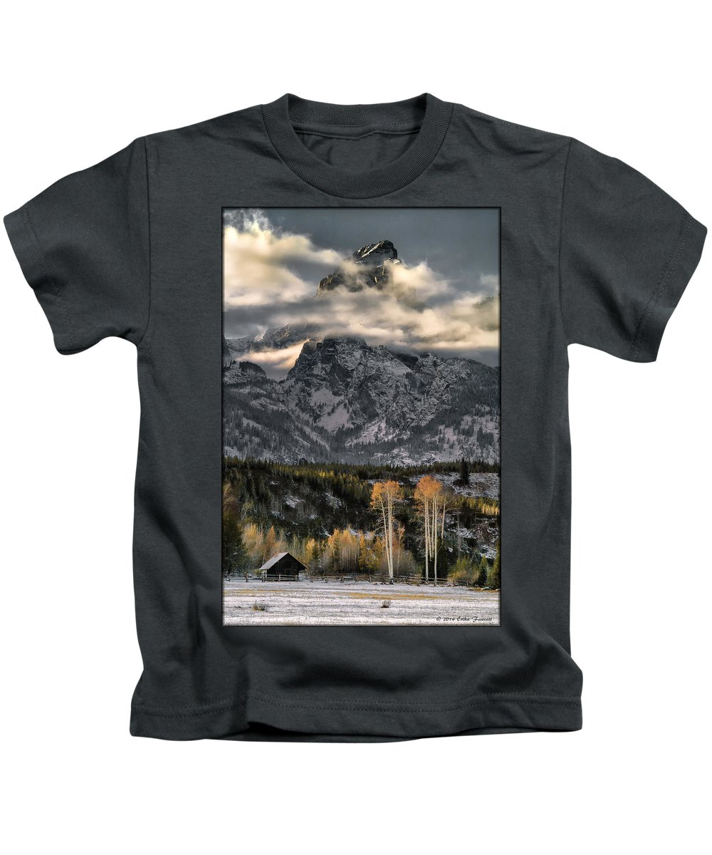 Mountain Kids T-Shirt featuring the photograph The Grand Teton by Erika Fawcett