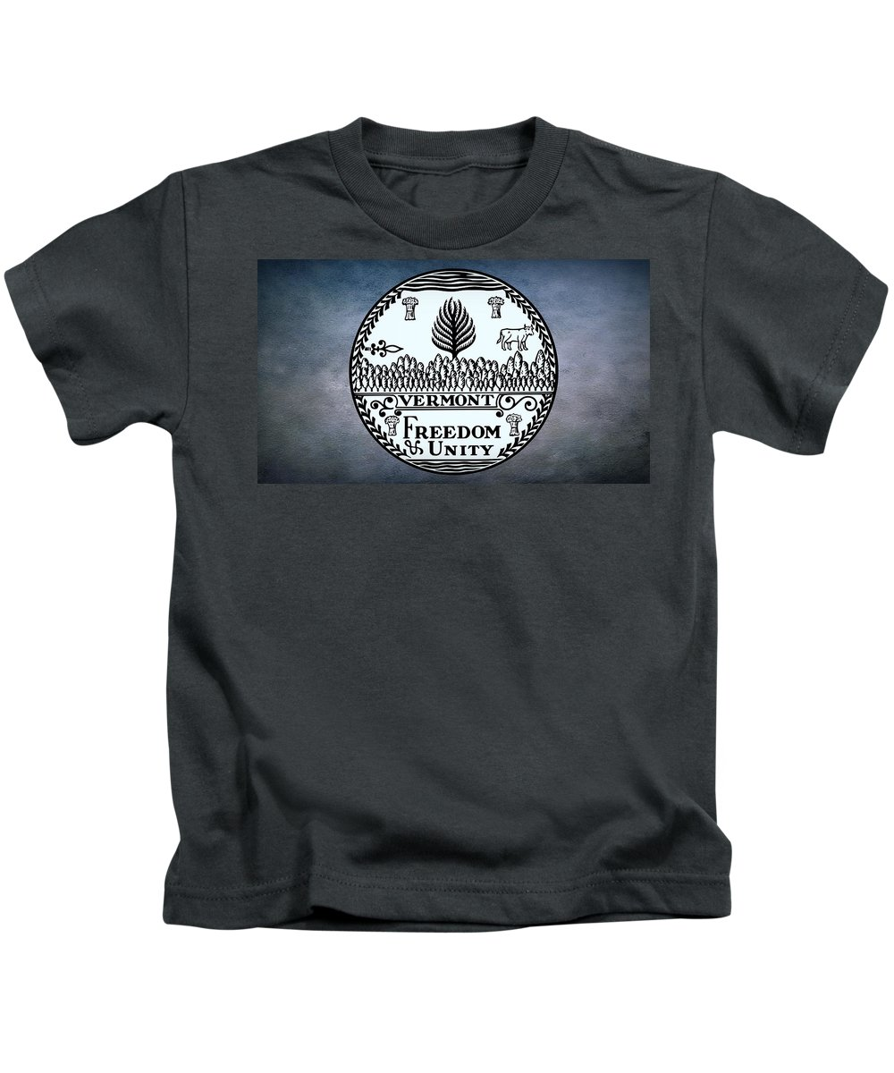 Vermont Kids T-Shirt featuring the photograph The Great Seal Of The State Of Vermont by Movie Poster Prints