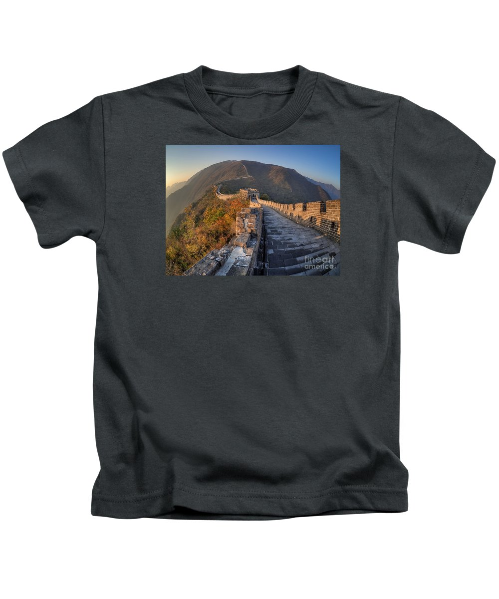 Great Wall Of China Kids T-Shirt featuring the photograph The Great Wall Of China Mutianyu China by Mark Carnaby