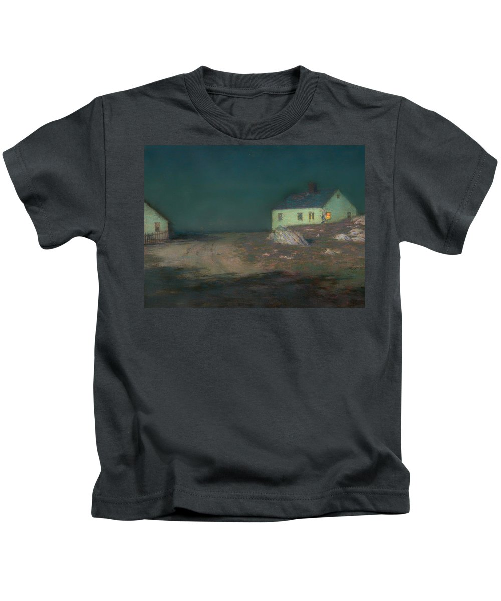Painting Kids T-Shirt featuring the painting The Harbor Light by Mountain Dreams