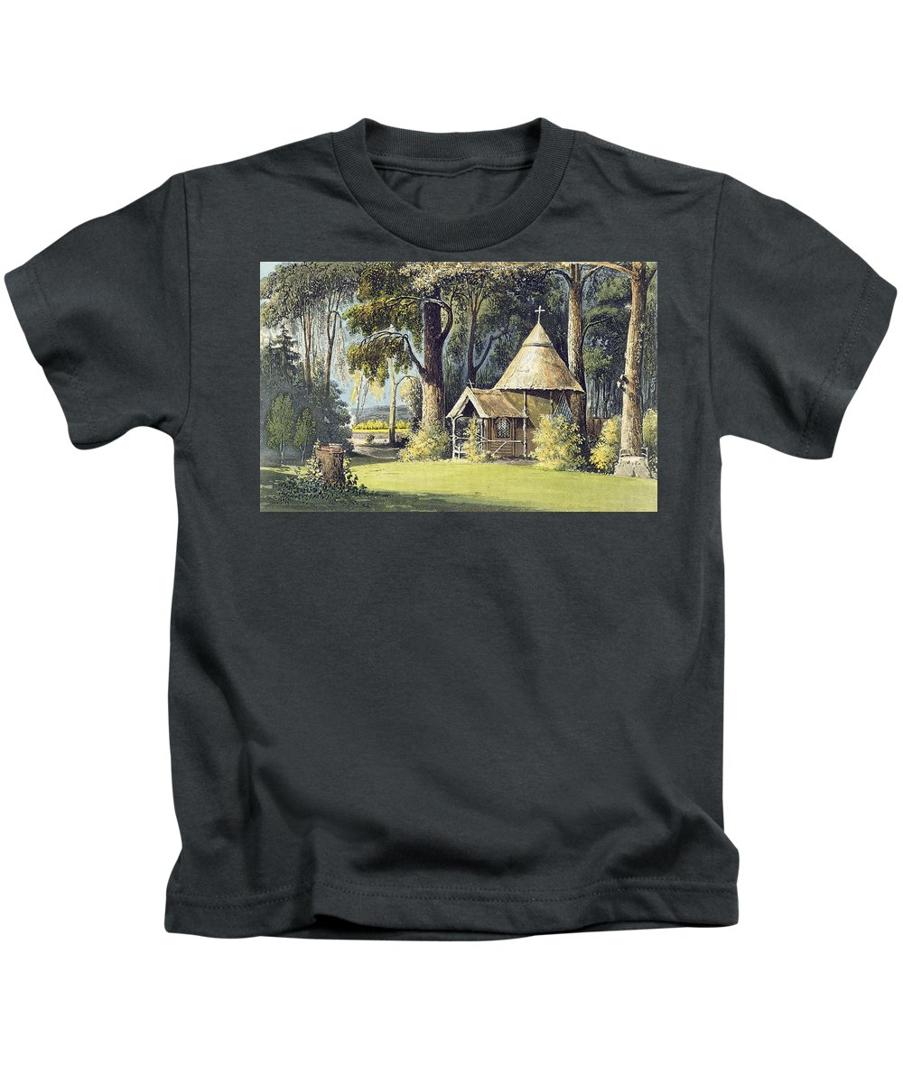 Thatched Kids T-Shirt featuring the painting The Hermitage, From Ackermanns by John Gendall