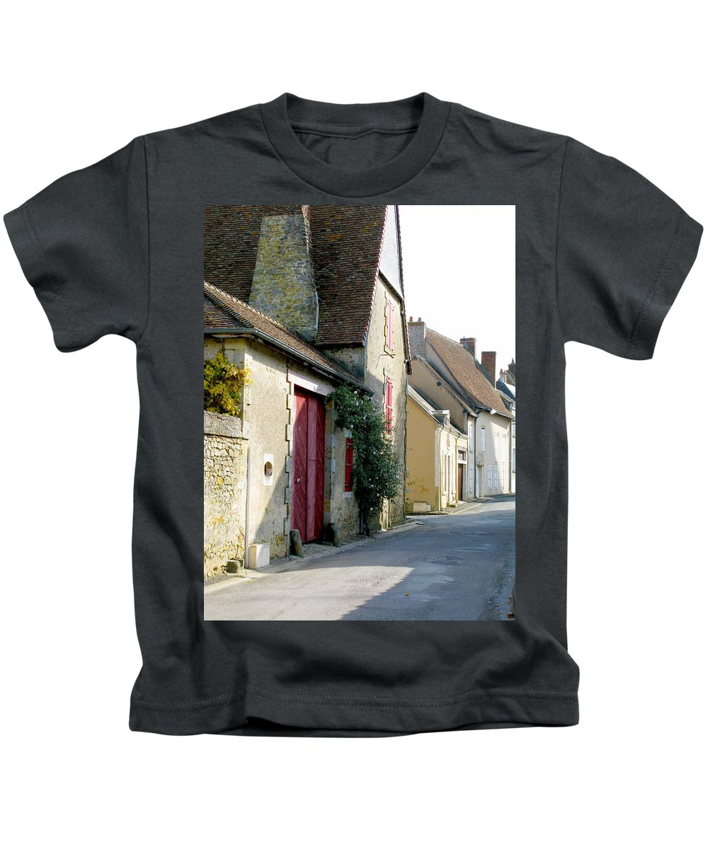 Red Doors Kids T-Shirt featuring the photograph The House With The Red Doors by Randi Kuhne