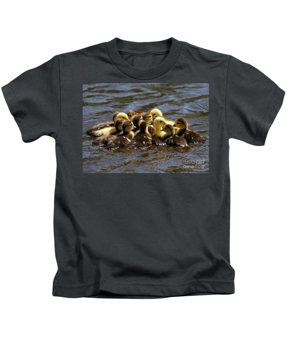 Fall Kids T-Shirt featuring the photograph The Huddle by Sabrina L Ryan