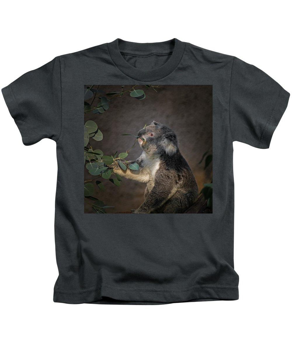 Animals Kids T-Shirt featuring the digital art The Koala by Ernie Echols