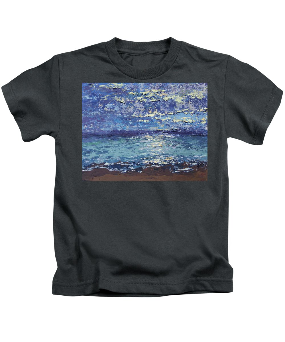 Lake Michigan Kids T-Shirt featuring the painting The Lake On A Cloudy Day In October by Mary Haas