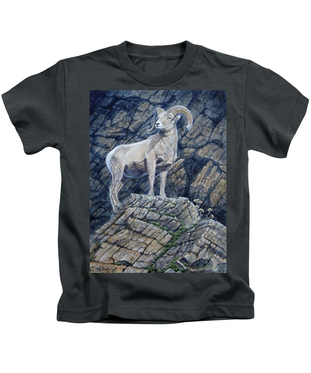 Ram Kids T-Shirt featuring the painting The Look Out by Mike Stinnett