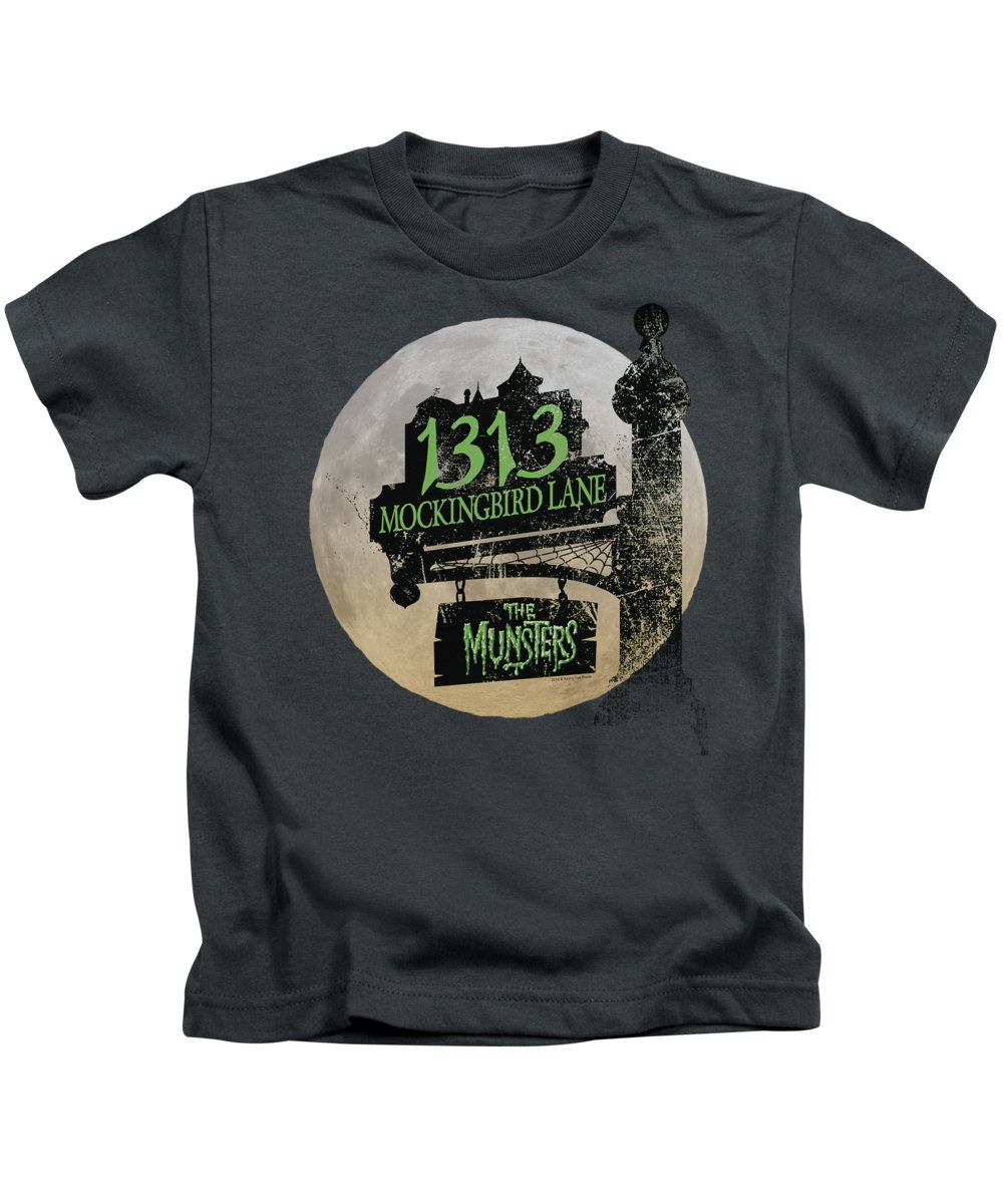 The Munsters Kids T-Shirt featuring the digital art The Munsters - Moonlit Address by Brand A