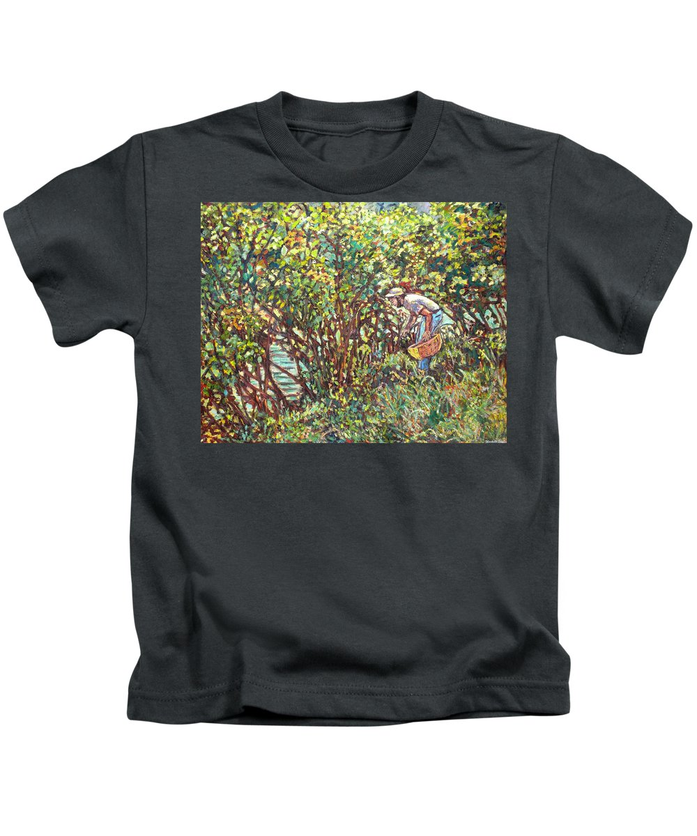 Landscape Kids T-Shirt featuring the painting The Mushroom Picker by Kendall Kessler