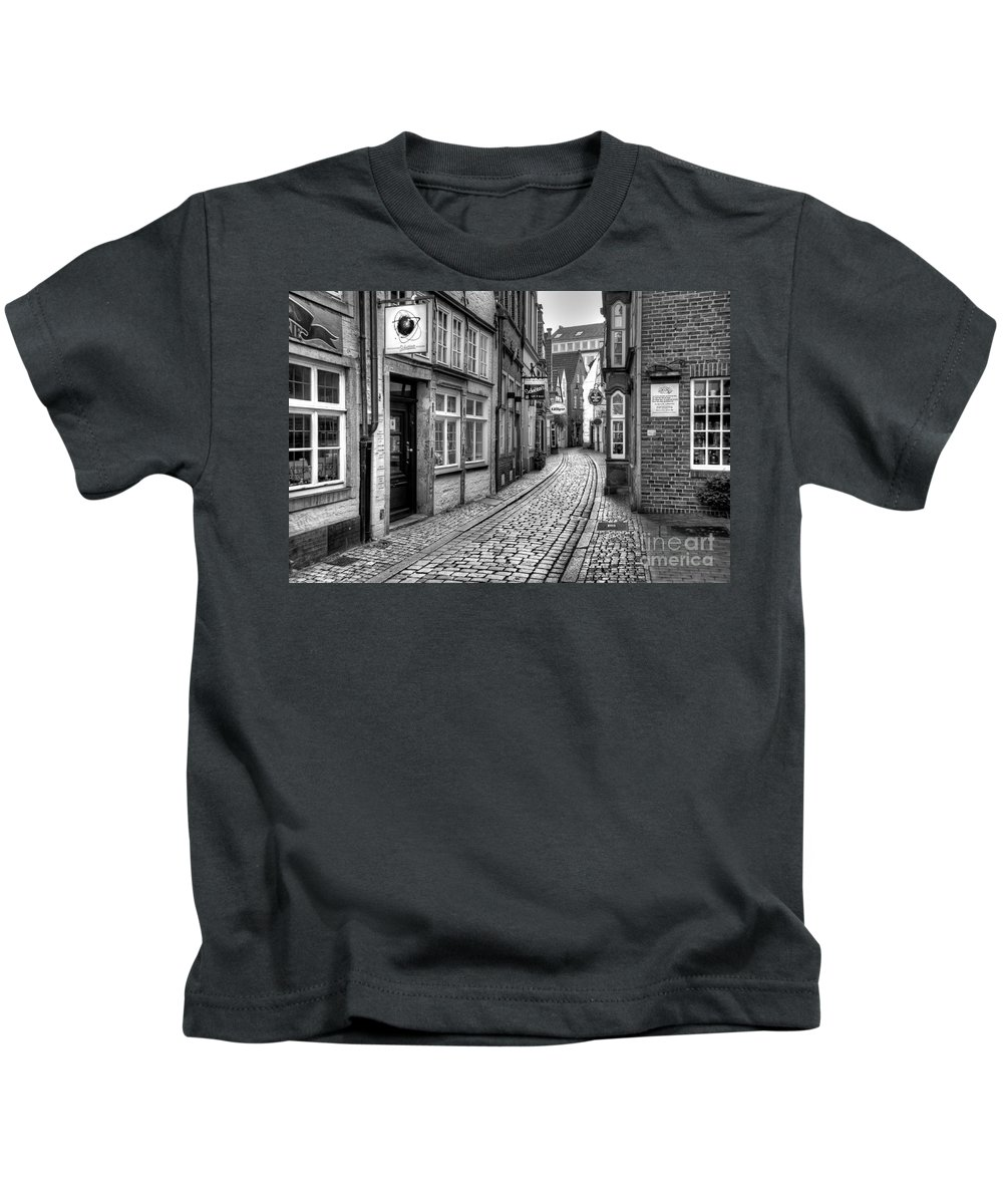 Schnoor Kids T-Shirt featuring the photograph The Narrow Cobblestone Street by Ari Salmela