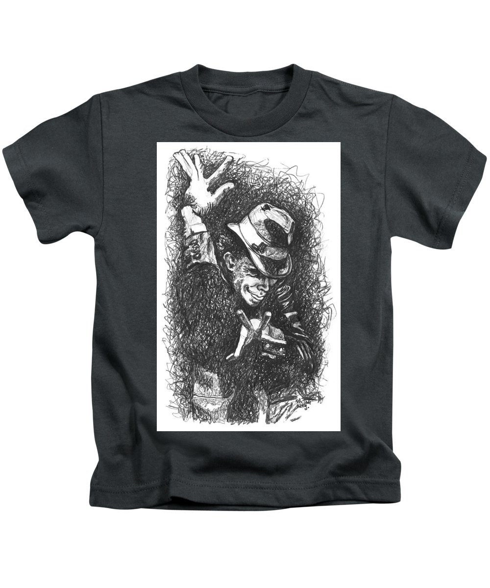 Tomwaits Kids T-Shirt featuring the drawing The Piano Has Been Drinking by Kelly Jade King