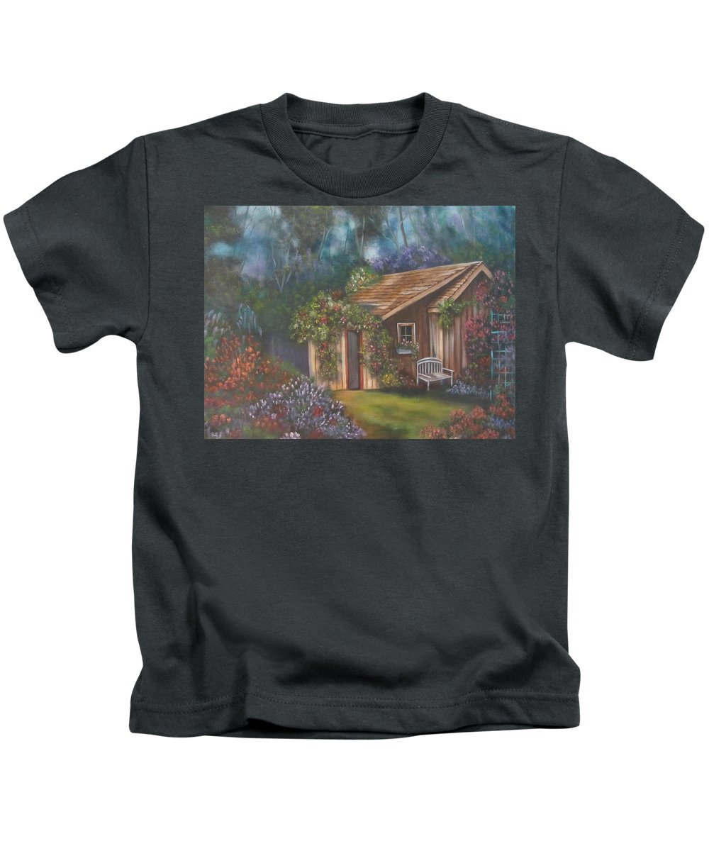 Shed Kids T-Shirt featuring the painting The Potting Shed by Terry Boulerice