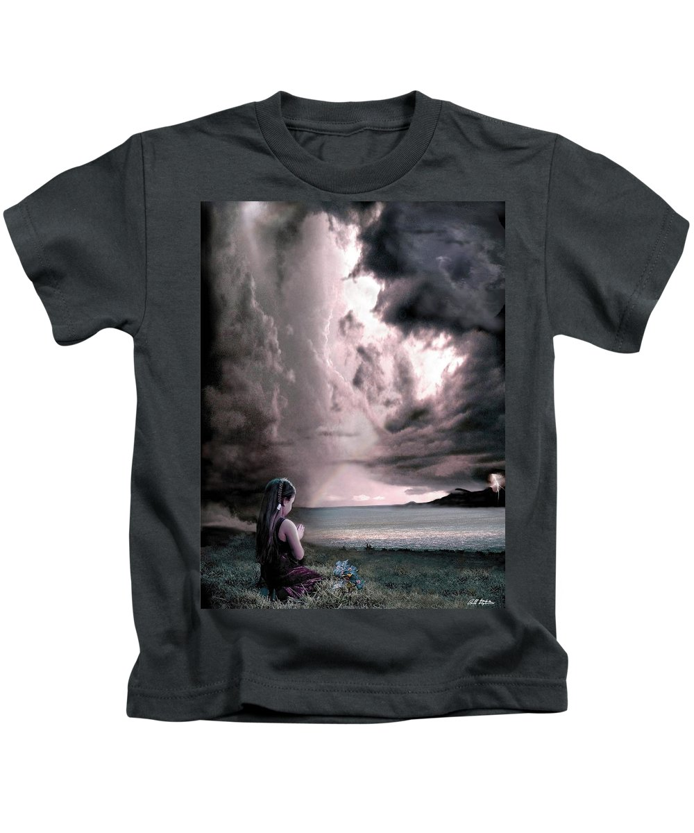 Children Kids T-Shirt featuring the mixed media The Prayer by Bill Stephens