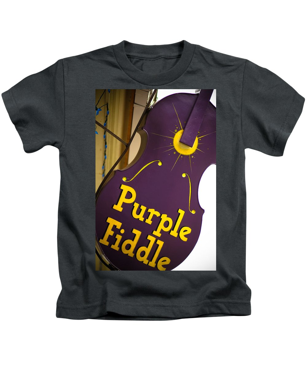 The Purple Fiddle Kids T-Shirt featuring the photograph The Purple Fiddle by Shane Holsclaw