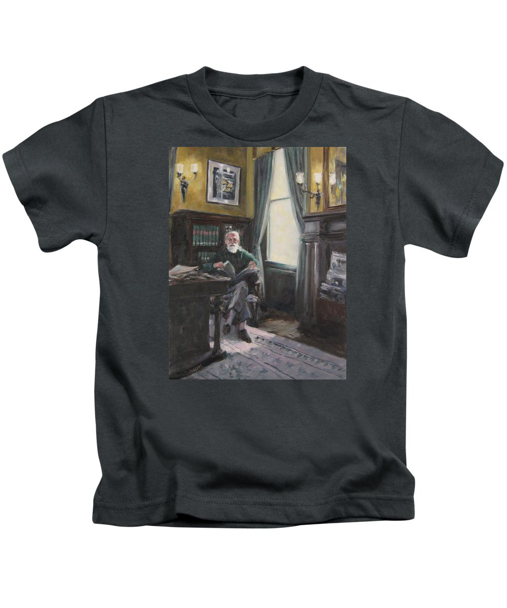 Library Kids T-Shirt featuring the painting The Reading Room by Connie Schaertl
