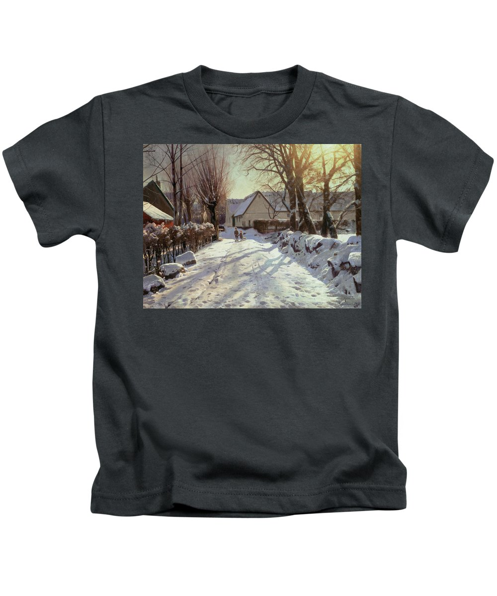 Winter Kids T-Shirt featuring the painting The Road Home by Peder Monsted