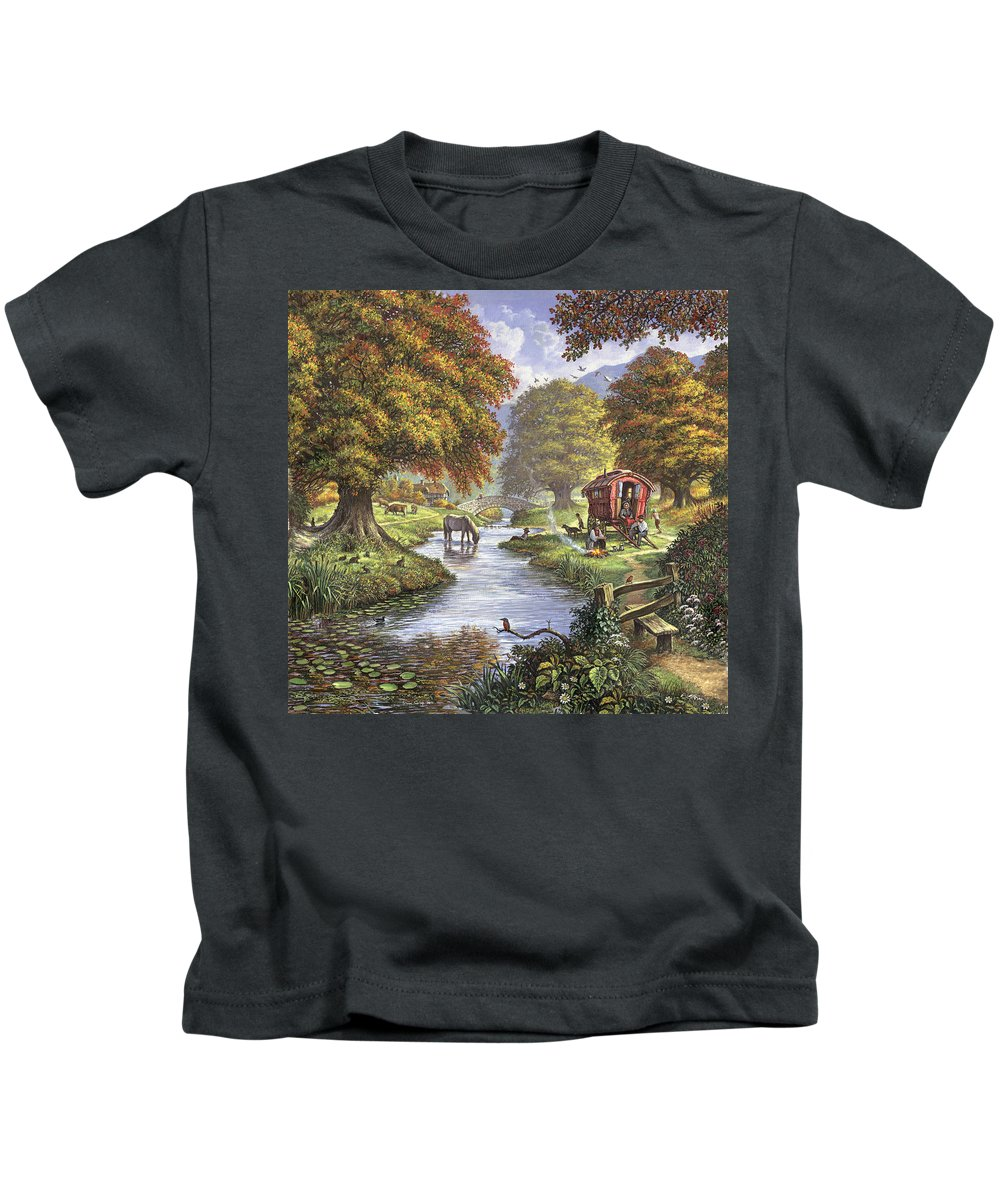 Autumn Kids T-Shirt featuring the photograph The Romany Camp by Steve Crisp
