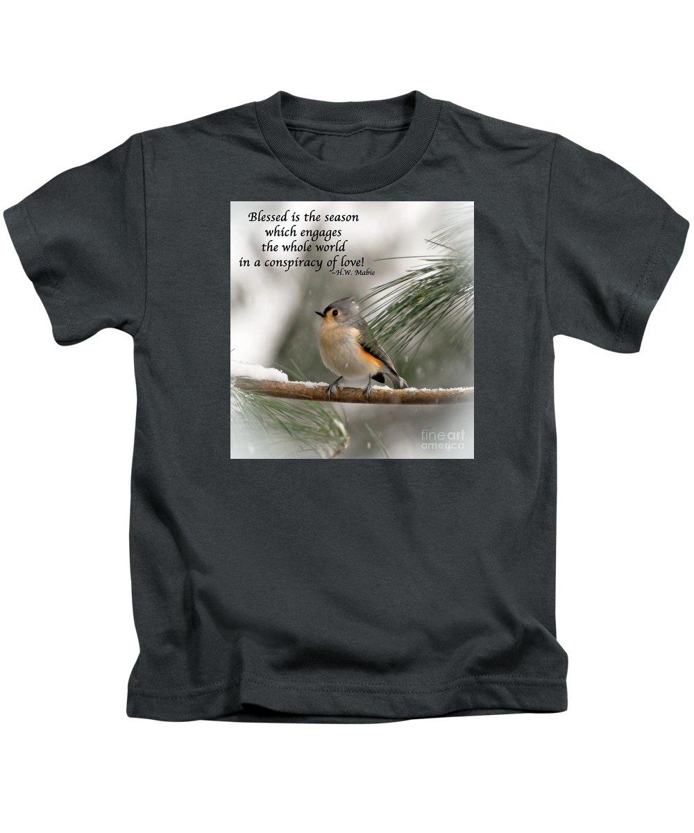 Bird Kids T-Shirt featuring the photograph The Season Of Love by Kerri Farley