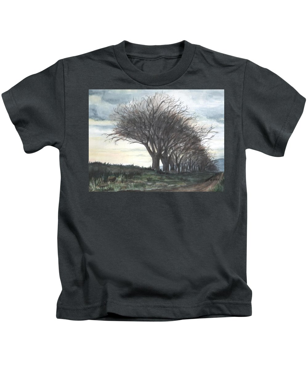 Watercolor Kids T-Shirt featuring the painting The Sentinels by Brenda Owen