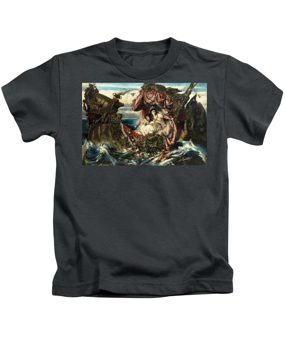 Gustav Wertheimer Kids T-Shirt featuring the painting The Shipwreck Of Agrippina by Gustav Wertheimer