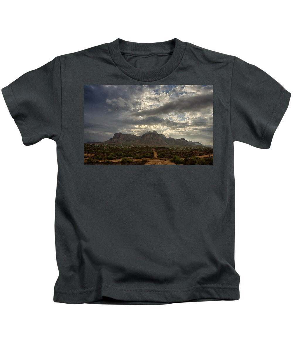 Sunrise. Morning Kids T-Shirt featuring the photograph The Superstition Mountains After A Storm by Saija Lehtonen