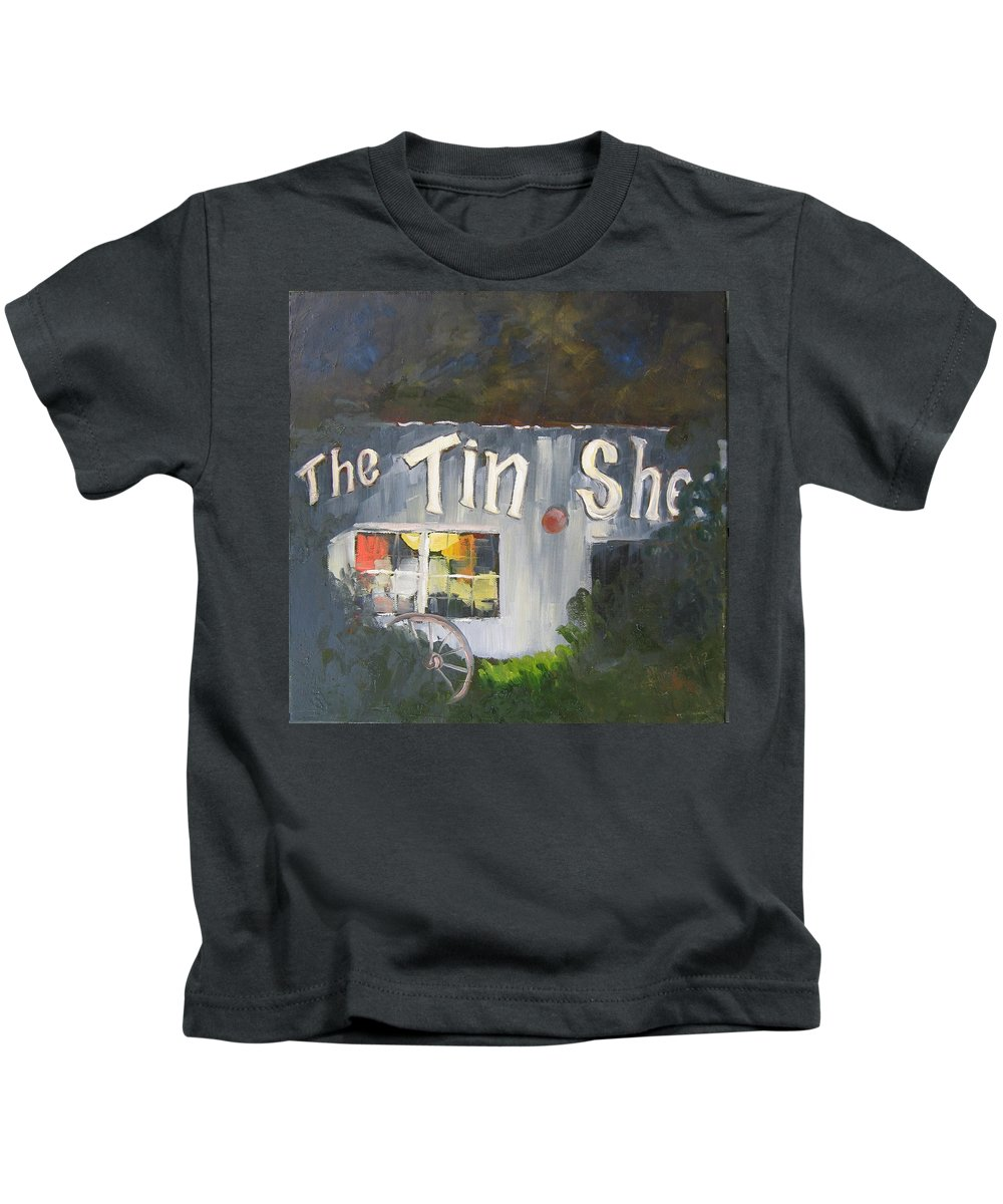 Apalachicola Kids T-Shirt featuring the painting The Tin Shed by Susan Richardson