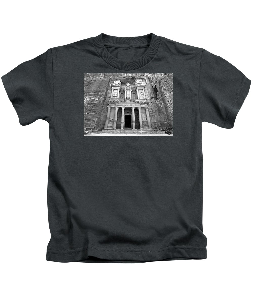 Petra Kids T-Shirt featuring the photograph The Treasury At Petra by Stephen Stookey