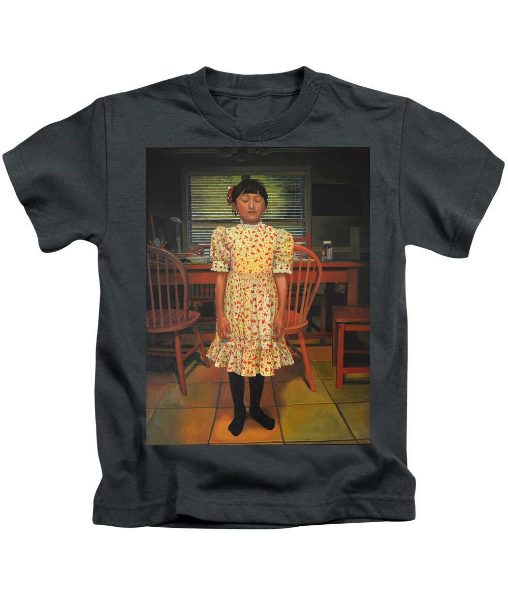 Children Paintings Kids T-Shirt featuring the painting The Valentine Dress by Thu Nguyen