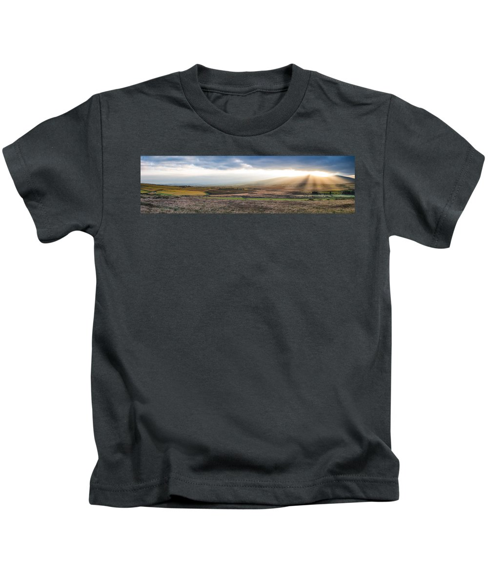 Cloudscape Kids T-Shirt featuring the photograph The Valleys In Wicklow Ireland by Semmick Photo