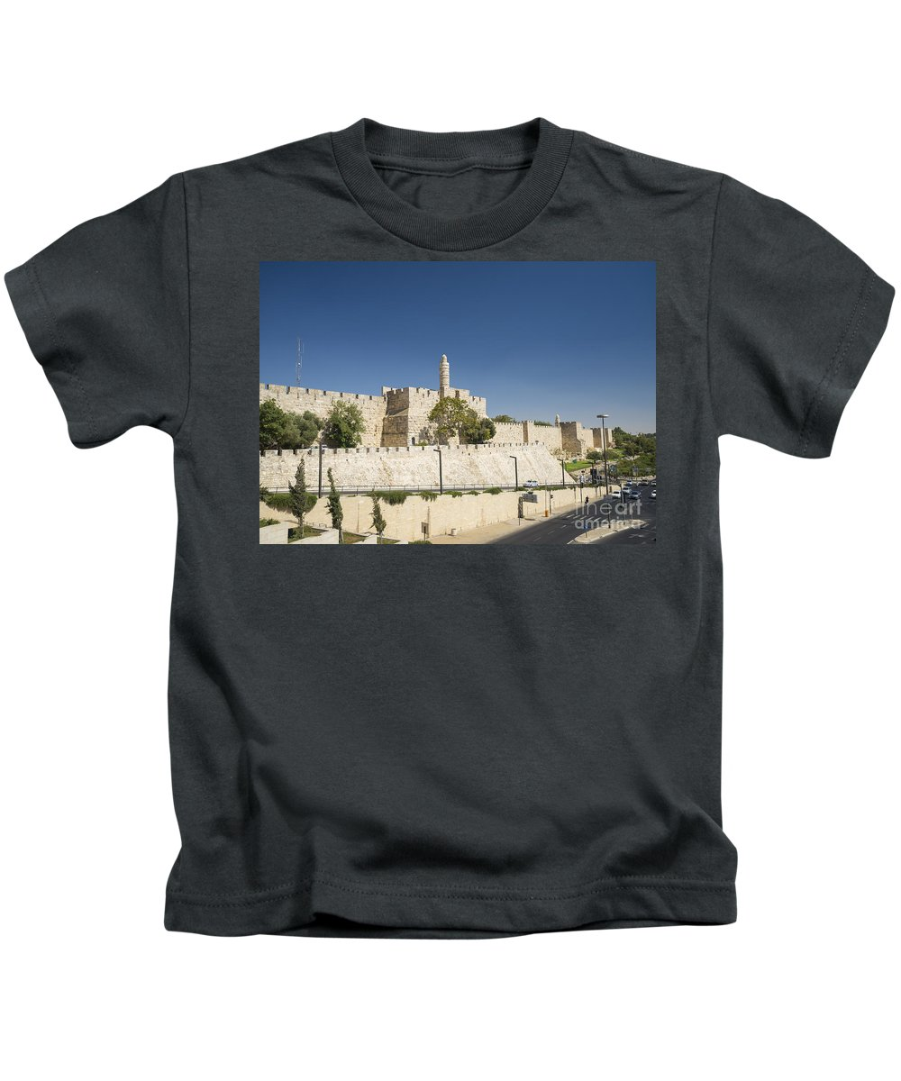Ancient Kids T-Shirt featuring the photograph The Walls Of Jerusalem Old Town Israel by Jacek Malipan