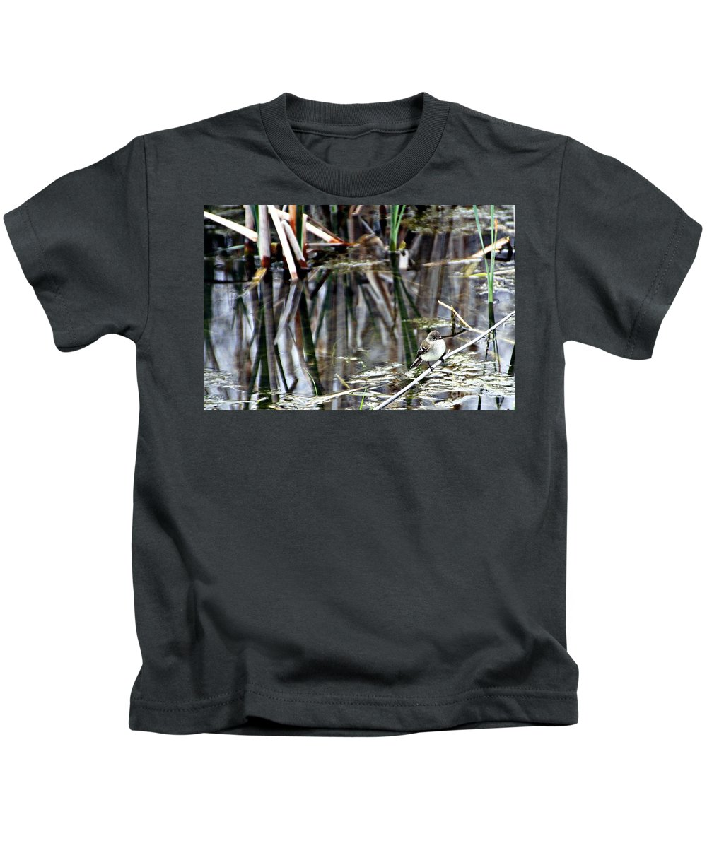 Ruby-crowned Kinglet Birds Kids T-Shirt featuring the photograph The Watch by Elizabeth Winter