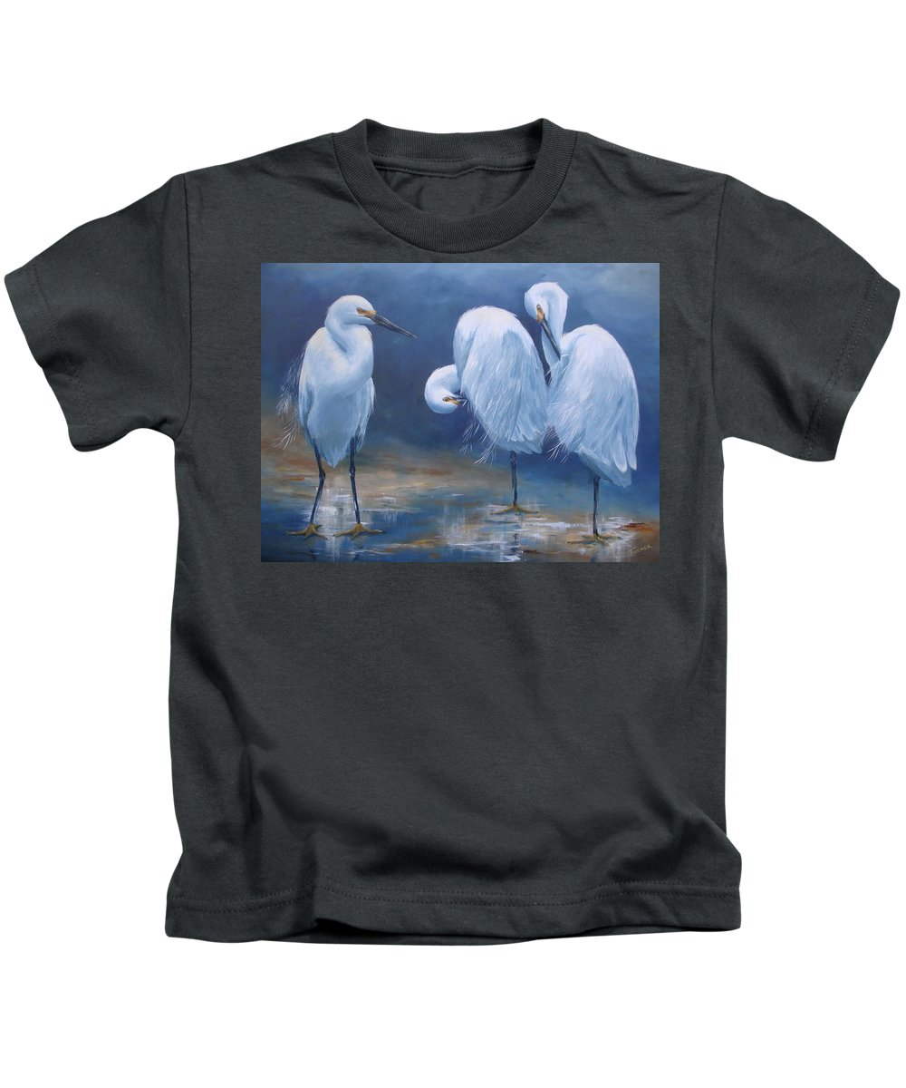 Snowy Egrets Kids T-Shirt featuring the painting Three Snowy Egrets by Kathleen Tucker