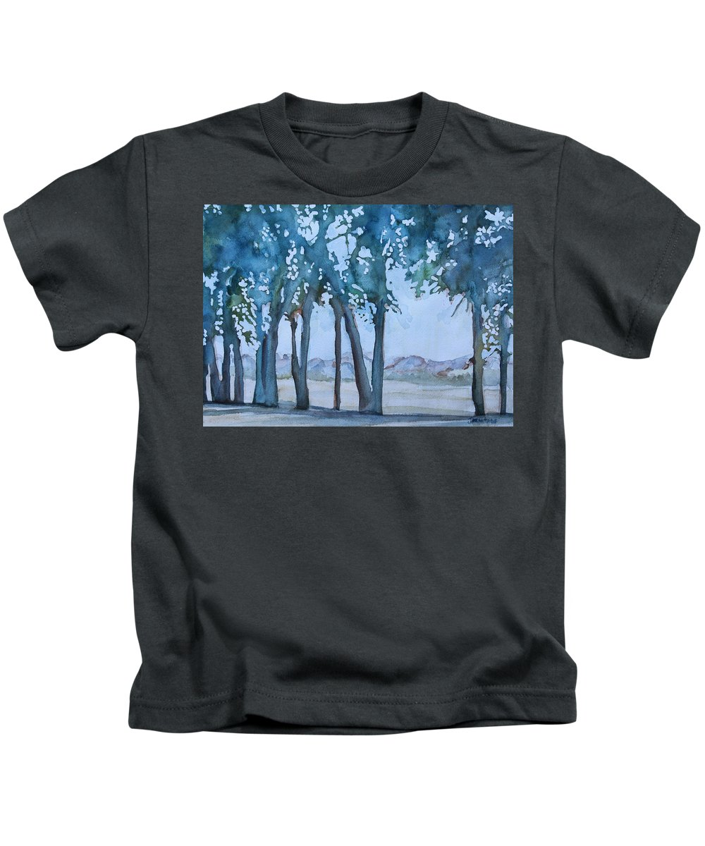 Trees Kids T-Shirt featuring the painting Through The Wind Break by Jenny Armitage