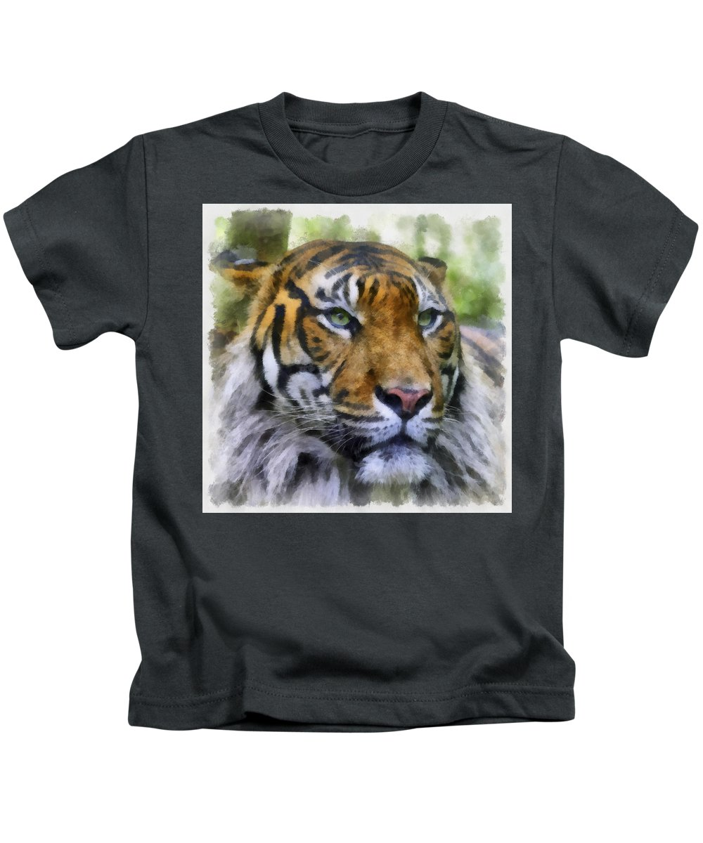 Aquarell Kids T-Shirt featuring the photograph Tiger 26 by Ingrid Smith-Johnsen